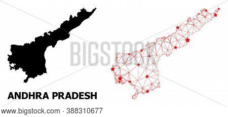Mesh Polygonal And Solid Map Of Andhra Pradesh State. Vector Model Is Created From Map Of Andhra Pra