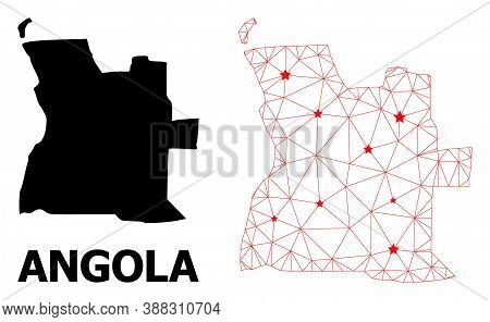 Network Polygonal And Solid Map Of Angola. Vector Model Is Created From Map Of Angola With Red Stars