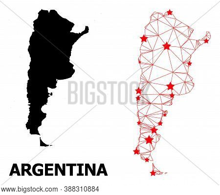 2d Polygonal And Solid Map Of Argentina. Vector Structure Is Created From Map Of Argentina With Red
