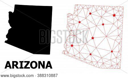 Mesh Polygonal And Solid Map Of Arizona State. Vector Structure Is Created From Map Of Arizona State