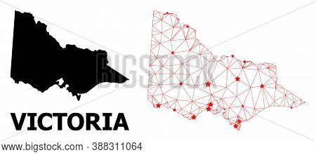 Wire Frame Polygonal And Solid Map Of Australian Victoria. Vector Model Is Created From Map Of Austr