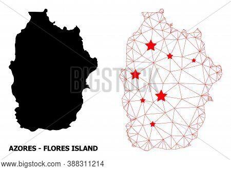 Network Polygonal And Solid Map Of Azores - Flores Island. Vector Structure Is Created From Map Of A