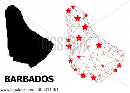 Wire Frame Polygonal And Solid Map Of Barbados. Vector Model Is Created From Map Of Barbados With Re