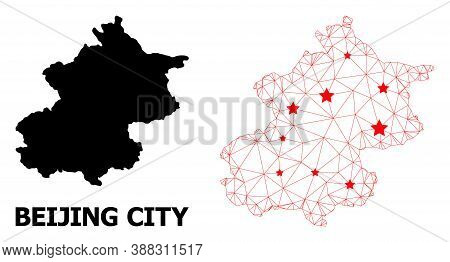 Wire Frame Polygonal And Solid Map Of Beijing Municipality. Vector Structure Is Created From Map Of