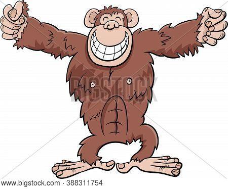 Cartoon Illustration Of Funny Gorilla Ape Wild Animal Character