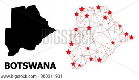 Network Polygonal And Solid Map Of Botswana. Vector Model Is Created From Map Of Botswana With Red S