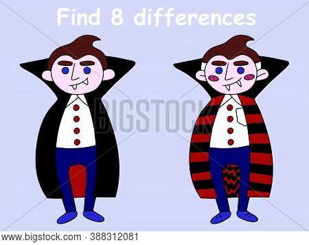 Find 8 Differences Of Vampire Stock Vector Illustration. Cartoon Smiling Vampire Character Full Leig