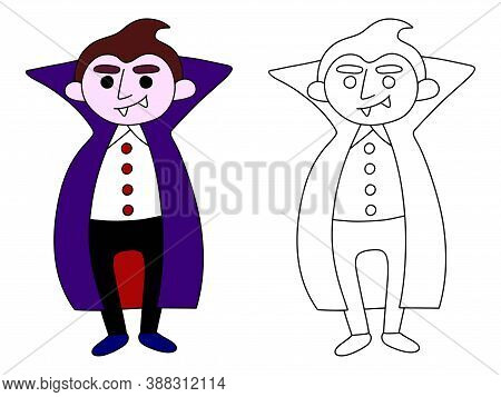 Funny Vampire Coloring Page Stock Vector Illustration. Smiling Cartoon Vampire Colorful And Coloring