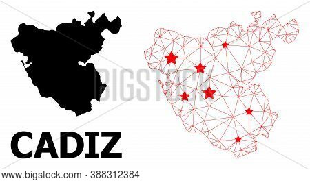 Wire Frame Polygonal And Solid Map Of Cadiz Province. Vector Model Is Created From Map Of Cadiz Prov