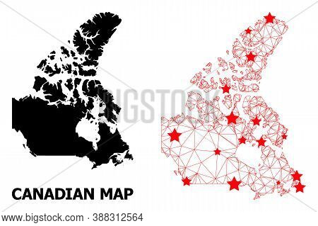 Carcass Polygonal And Solid Map Of Canada. Vector Structure Is Created From Map Of Canada With Red S