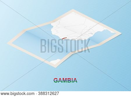 Folded Paper Map Of Gambia With Neighboring Countries In Isometric Style On Blue Vector Background.