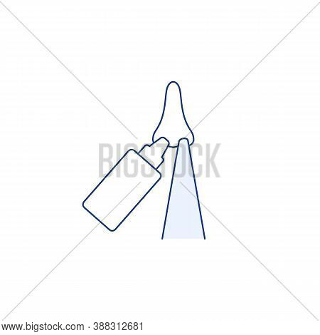 Nasal Wash Thin Line Icon Isolated On White Background. Nose Cleaning With Saline To Protect Pm2 5.