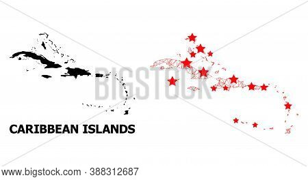 2d Polygonal And Solid Map Of Caribbean Islands. Vector Structure Is Created From Map Of Caribbean I