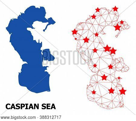Wire Frame Polygonal And Solid Map Of Caspian Sea. Vector Model Is Created From Map Of Caspian Sea W