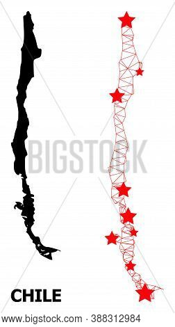Mesh Polygonal And Solid Map Of Chile. Vector Model Is Created From Map Of Chile With Red Stars. Abs