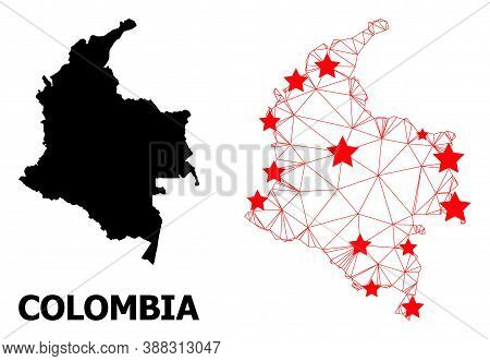Network Polygonal And Solid Map Of Colombia. Vector Model Is Created From Map Of Colombia With Red S