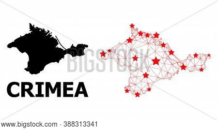 Wire Frame Polygonal And Solid Map Of Crimea. Vector Model Is Created From Map Of Crimea With Red St