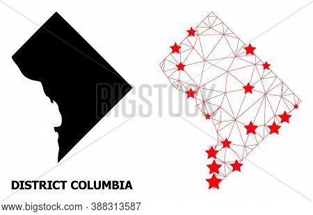 Network Polygonal And Solid Map Of District Columbia. Vector Model Is Created From Map Of District C