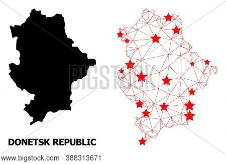 Carcass Polygonal And Solid Map Of Donetsk Republic. Vector Structure Is Created From Map Of Donetsk