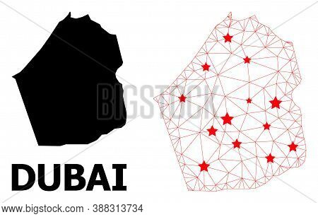 Mesh Polygonal And Solid Map Of Dubai Emirate. Vector Structure Is Created From Map Of Dubai Emirate