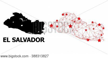 Mesh Polygonal And Solid Map Of El Salvador. Vector Structure Is Created From Map Of El Salvador Wit