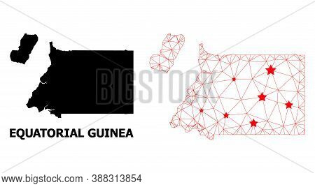 Wire Frame Polygonal And Solid Map Of Equatorial Guinea. Vector Structure Is Created From Map Of Equ