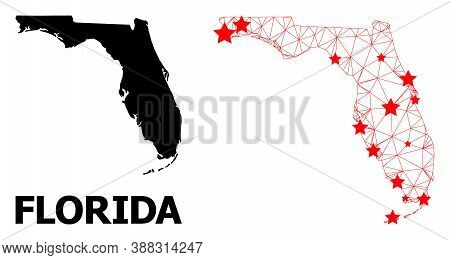 Network Polygonal And Solid Map Of Florida State. Vector Structure Is Created From Map Of Florida St