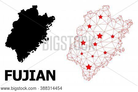 Wire Frame Polygonal And Solid Map Of Fujian Province. Vector Model Is Created From Map Of Fujian Pr