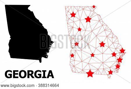 2d Polygonal And Solid Map Of Georgia State. Vector Structure Is Created From Map Of Georgia State W