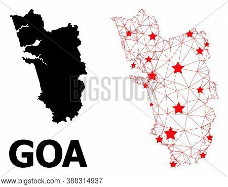 Mesh Polygonal And Solid Map Of Goa State. Vector Structure Is Created From Map Of Goa State With Re
