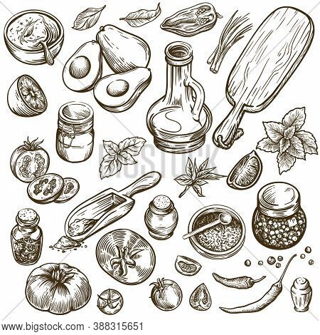 Ingredients For Preparing Various Dishes And Table Setting. Natural Products. Set Of Sketches On A W