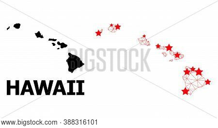 Network Polygonal And Solid Map Of Hawaii State. Vector Structure Is Created From Map Of Hawaii Stat