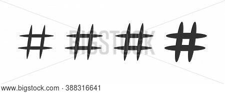 Hashtag Icon Set. Flat Style Icons Hashtag On White Background. Vector Illustration