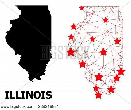 Wire Frame Polygonal And Solid Map Of Illinois State. Vector Structure Is Created From Map Of Illino