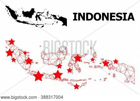 Wire Frame Polygonal And Solid Map Of Indonesia. Vector Structure Is Created From Map Of Indonesia W