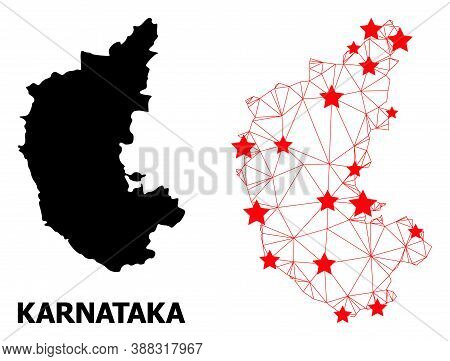 Carcass Polygonal And Solid Map Of Karnataka State. Vector Structure Is Created From Map Of Karnatak