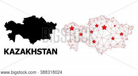 2d Polygonal And Solid Map Of Kazakhstan. Vector Model Is Created From Map Of Kazakhstan With Red St