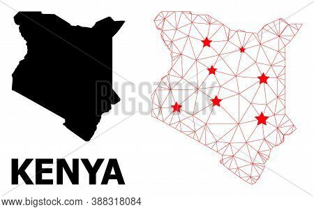 Wire Frame Polygonal And Solid Map Of Kenya. Vector Structure Is Created From Map Of Kenya With Red