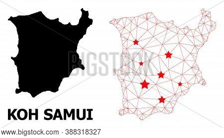 Mesh Polygonal And Solid Map Of Koh Samui. Vector Model Is Created From Map Of Koh Samui With Red St