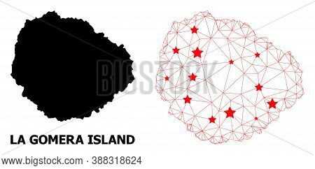 Mesh Polygonal And Solid Map Of La Gomera Island. Vector Structure Is Created From Map Of La Gomera