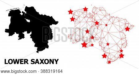 Wire Frame Polygonal And Solid Map Of Lower Saxony State. Vector Structure Is Created From Map Of Lo