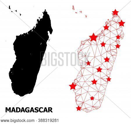 Wire Frame Polygonal And Solid Map Of Madagascar Island. Vector Model Is Created From Map Of Madagas