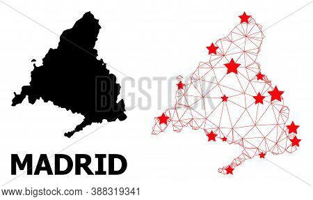 Wire Frame Polygonal And Solid Map Of Madrid Province. Vector Structure Is Created From Map Of Madri