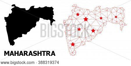 Network Polygonal And Solid Map Of Maharashtra State. Vector Structure Is Created From Map Of Mahara