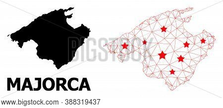 2d Polygonal And Solid Map Of Majorca. Vector Model Is Created From Map Of Majorca With Red Stars. A