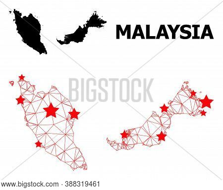 Mesh Polygonal And Solid Map Of Malaysia. Vector Structure Is Created From Map Of Malaysia With Red