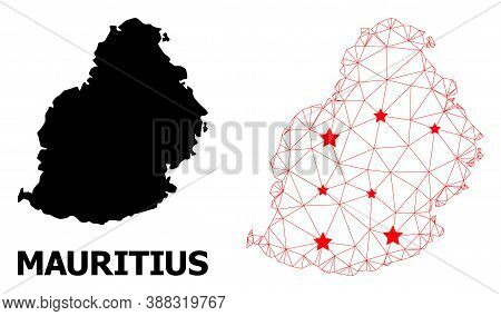 Wire Frame Polygonal And Solid Map Of Mauritius Island. Vector Structure Is Created From Map Of Maur