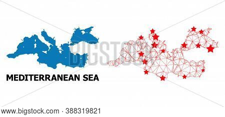 2d Polygonal And Solid Map Of Mediterranean Sea. Vector Model Is Created From Map Of Mediterranean S
