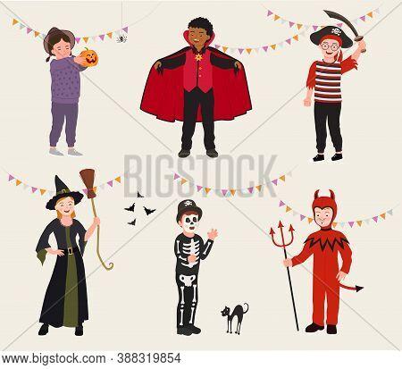 Set Of Cartoon Kids In Halloween Party Costume