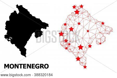 Wire Frame Polygonal And Solid Map Of Montenegro. Vector Model Is Created From Map Of Montenegro Wit